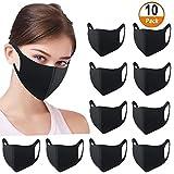 10 Stück Mundschutz Masken,Unisex Baumwolle Masken Kälteschutz Gesichtsmaske Wiederverwendbar & Waschbare Schwarz