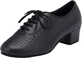 Abby AQ-7010 Womens Practice Sneaker Block Heel Round-Toe Leather Dance-Shoes
