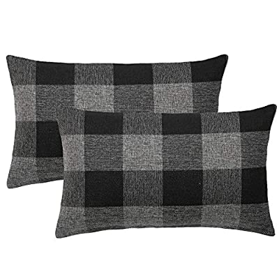 MIULEE Pack of 2 Classic Retro Checkers Plaids Cotton Linen Soft Solid Decorative Throw Pillow Covers Home Decor Design Cushion Case for Sofa Bedroom Car