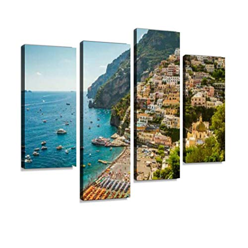 Amalfi Coast Positano Town in Campania, Italy positanos and Canvas Wall Art Hanging Paintings Modern Artwork Abstract Picture Prints Home Decoration Gift Unique Designed Framed 4 Panel