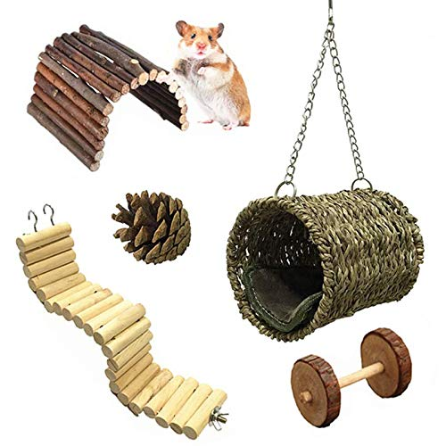 Ewolee Hamster Chew Toys Set, 5 Pcs Wooden Hamster Cage Toys, Hammock Nest Swing Bridge Ladder Stairs Climb Toy for Hamster Squirrel Ferret Guinea Pig Parrot