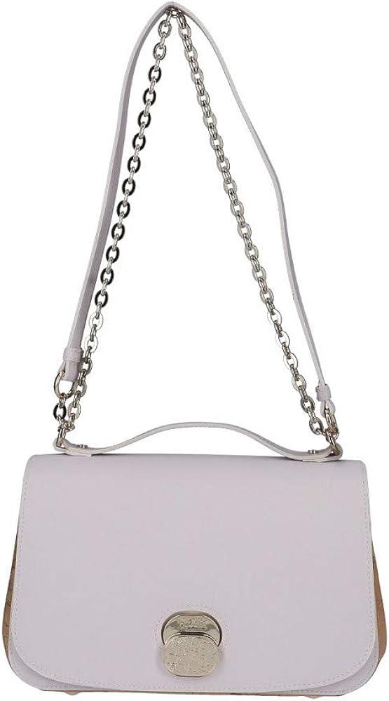 Alviero martini - 1^ classe, borsetta a tracolla da donna, in similpelle color perla, e inserti in tessuto geo 45663-TU