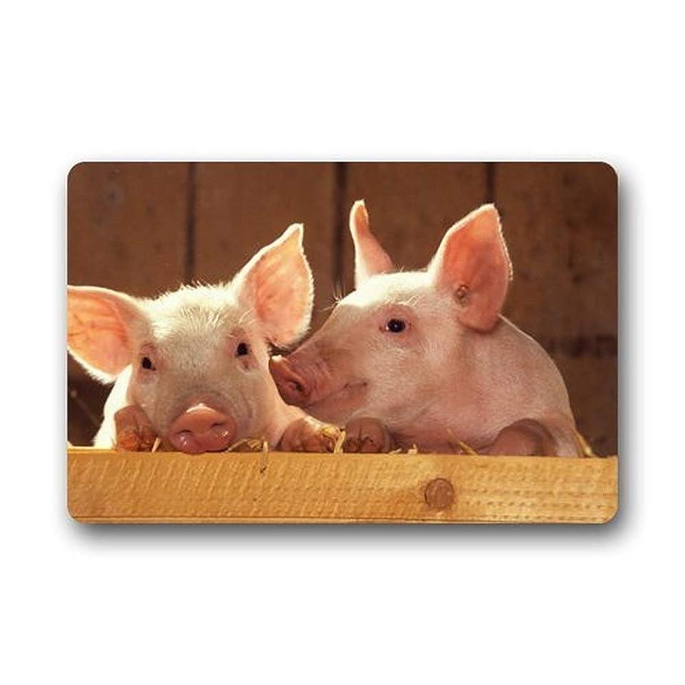 からかう覚醒保存する豚ゴム製フロントドアウェルカムマット敷物カバーヒジ\幅:15.7インチ×23.6インチ、40cm×60cm
