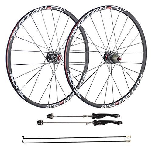 CHICTI Fahrrad Laufradsatz 26 27,5 Zoll, Doppelwandig Aluminiumlegierung Scheibenbremse Hybrid/Mountainbike 24 Loch 8 9 10 Geschwindigkeit 100mm Draußen (Color : A, Size : 26inch)