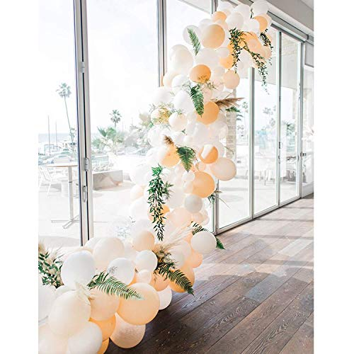 Erröten Sie weiße Latex-Ballone 100 Stück 10 Zoll Helium-Ballon-Partei-Pfirsich-Ballone für Hochzeitsfest, Brautparty, Babyparty - 10 Zoll, 5 Zoll - Weiß, Durchsichtig, erröten Sie
