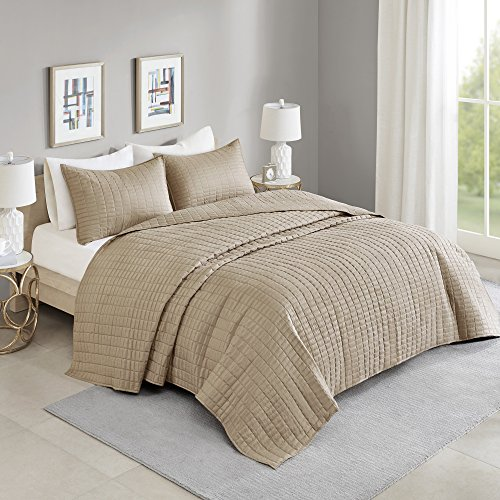 "Comfort Spaces Kienna Quilt Set-Luxury Double Sided Stitching Design All Season, Lightweight, Coverlet Bedspread Bedding, Matching Shams, Oversized King(120""x118""), Taupe,CS13-0934"