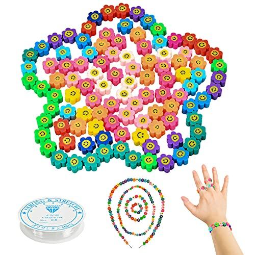 Niumowang Cuentas de Colores, 10mm Cuentas Sonrientes, 100 Piezas Abalorios Pulseras, Cuentas para Collares, Cuentas Arcilla Polimérica con 1 rollo de línea de cristal para Pulseras DIY Manualidades