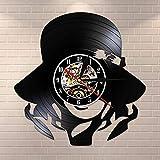 BFMBCHDJ Adorno de niña Hermosa con Sombrero Reloj de Pared de Vinilo Hecho a Mano Reloj de Pared de señora de Moda Decoración para el hogar Regalo de Arte de Pared Vintage para Ella