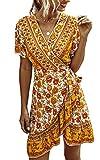 ECOWISH Women's Summer Wrap V Neck Bohemian Floral Print Ruffle Swing A Line Beach Mini Dress 047 White Large