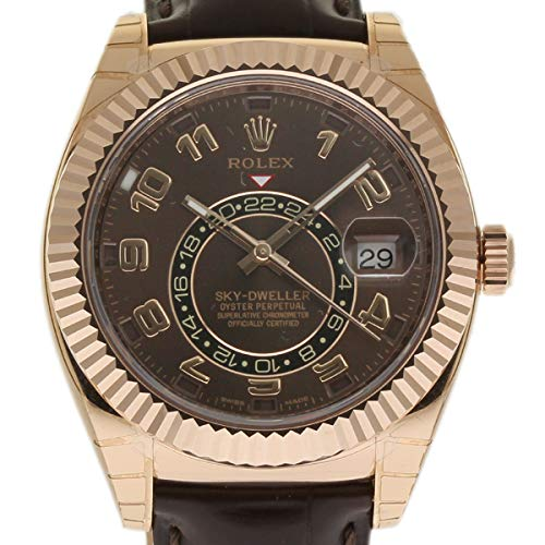 Rolex New Sky-Dweller 326135 Rose Gold Brown Leather Box/Paper/5YWarranty #RL119