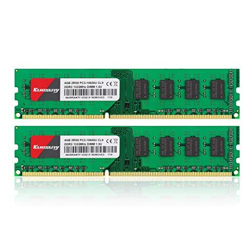 Kuesuny 8GB Kit (4GBX2) DDR3 1333 Udimm RAM, PC3-10600 PC3-10600U 1.5V CL9 240pin Non-ECC Módulo de Memoria de Escritorio sin búfer Compatible con Intel AMD Green