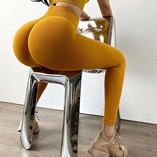 WUHUI Deportes para Running Yoga Fitness Gym, Pantalones de Yoga de Abdomen de Cintura Alta Ajustados sin Costuras, Yellow_L, Cintura Alta Elástico y Transpirable