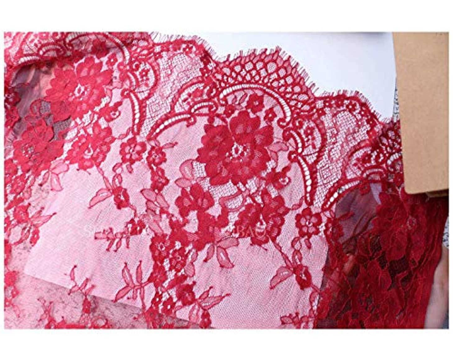 Chantilly Eyelash Edge Lace Fabric Floral Bridal/Wedding Dress Flower African Lace Table Cloth DIY Crafts Trim Applique Ribbon Curtains ALE16 (Red)