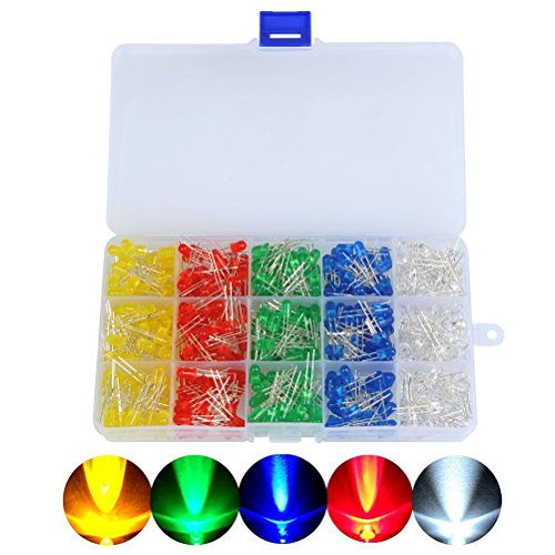 OFNMY 500 Stück LED Leuchtdioden5mm Dioden Set 20mA / 2.0-3.4V Leuchtdioden 2Pin Elektronikkomponenten mit 5 Farben ( Rot Blau Grün Gelb Weiß )