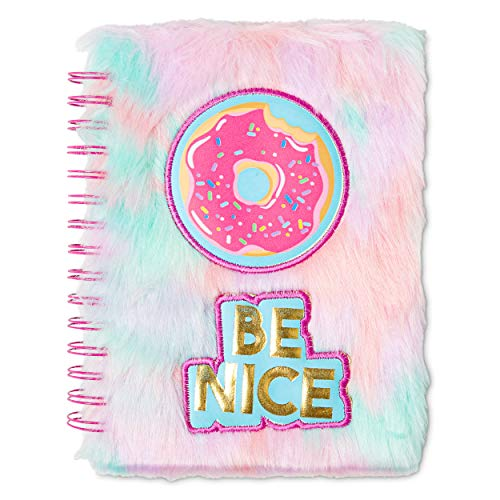 Tri-Coastal Design Fuzzy Sweet Unicorn Journals for Girls Kids Journal with Unicorn Patch - Spiral Bound Hardcover Notebook / Diary with 120 Pages of Lined White Paper for Writing and Drawing