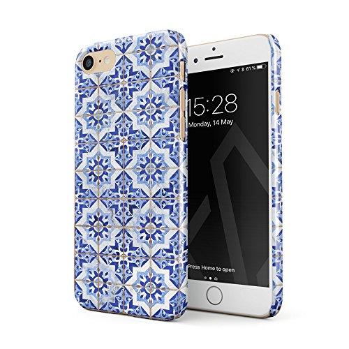 BURGA Hülle Kompatibel mit iPhone 7/8 / SE 2020 - Handy Huelle Weiß Blau Mit Gold Marokkanisch Fliesen Muster Mosaik Marmor Mode Dünn Robuste Rückschale aus Kunststoff Handyhülle Schutz Case Cover