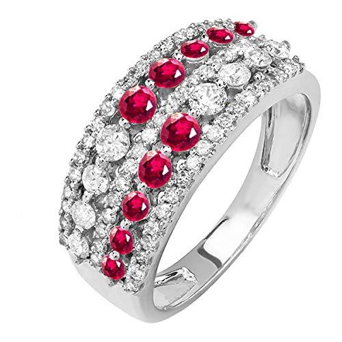 DazzlingRock Collection Anillo de Oro de la Boda del Anillo de la Boda del Aniversario de Las Mujer rubíes y del Diamante 14K 7.5