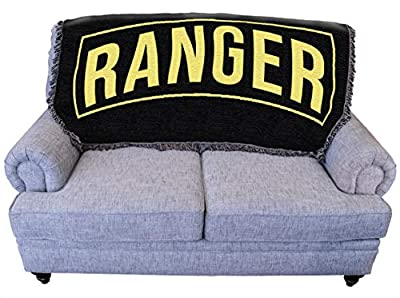 Pure Country Weavers US Army - Ranger Blanket Throw for Back of Couch or Sofa - Woven from Cotton - Made in The USA (61x36)