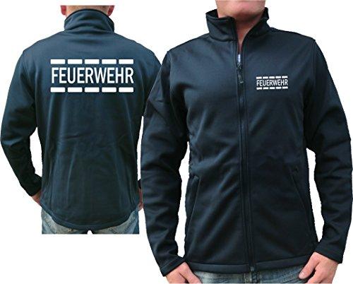 Feuer1 Veste softshell SmartSoftshell Navy, motif pompiers en blanc XL bleu marine