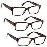 The Reading Glasses Company Gafas De Lectura Pack 3 Hombres Marrón Carey Grande Estilo Diseñador Lectores Bisagras Resorte Rrr11-2 +2,50 3 Unidades 88 g