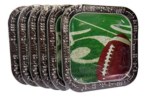 Bulk Buy: Football Super Bowl Party Square Paper Plates, (14) Plates/Pkg, Pack of (6) - Total (84) Plates
