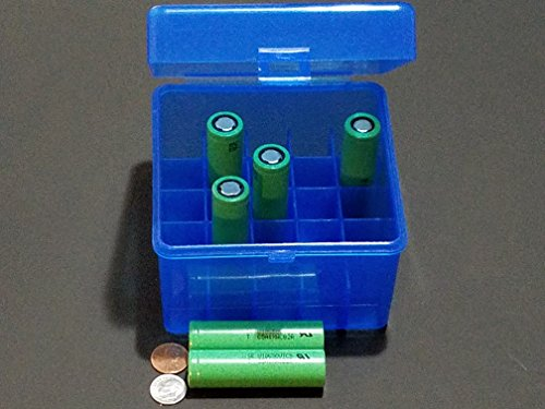 AA & AAA and 18650 Rechargeable Batteries Plastic Storage Box Container Holder Battery Case Keep Your Batteries Organizing (1, 18350 Rechargeable Battery Box 25 Blue)