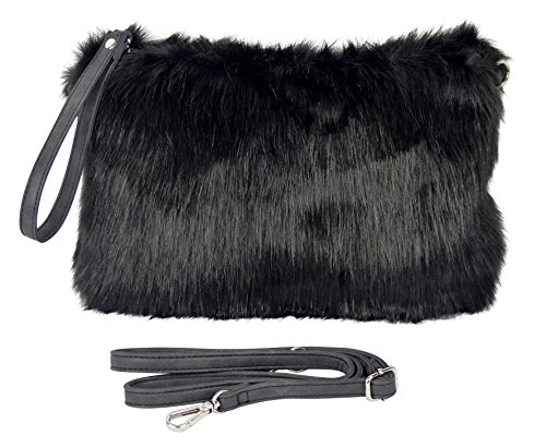 yourlifeyourstyle Felltasche schwarz Umhängetasche aus langem Fell mit Schulterriemen und Handschlaufe - 29 x 20 cm
