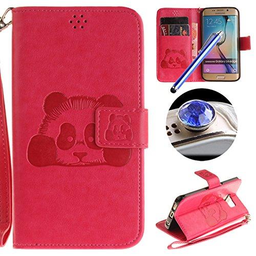 [ Samsung Galaxy S6 Edge ] Cuir Coque,Samsung Galaxy S6 Edge Housse de téléphone en Cuir, Etsue Retro Panda Motif Portefeuille en Cuir Flip Couverture de Case avec Lanière et Carte de Visite Dossier Fonction pour Samsung Galaxy S6 Edge + Cadeaux Gratuit + 1 x Bleu stylet + 1 x Bling poussière plug (couleurs aléatoires)-Rose Red