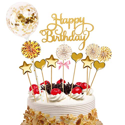 Sunshine smile Cake Topper Happy Birthday, Glitter Cake Topper, Kuchendekoration Geburtstag, Tortenaufsatz, Tortendeko, Tortenstecker Geburtstag, Kuchendeckel, Cupcake Topper (Golden-B-1)