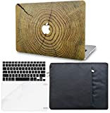 KECC Laptop Case for MacBook Pro 13' (2019/2018/2017/2016,Touch Bar) w/Keyboard Cover + Sleeve + Screen Protector (4 in 1 Bundle) Hard Shell A2159/A1989/A1706/A1708 (Cracked Wood)
