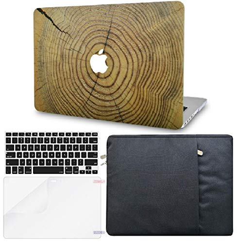 KECC Laptop Case for MacBook Air 13' Retina (2020/2019/2018, Touch ID) w/Keyboard Cover + Sleeve + Screen Protector (4 in 1 Bundle) Plastic Hard Shell Case A2179/A1932 (Cracked Wood)