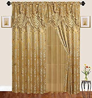 Traditional Jacquard Curtain Drape Set (2 Panels) 84 Inch Long, Includes attached Valance, Sheer Backing, 2 Tassels, Damask Floral Pattern Drape for Living and dining rooms, 647-84, Gold