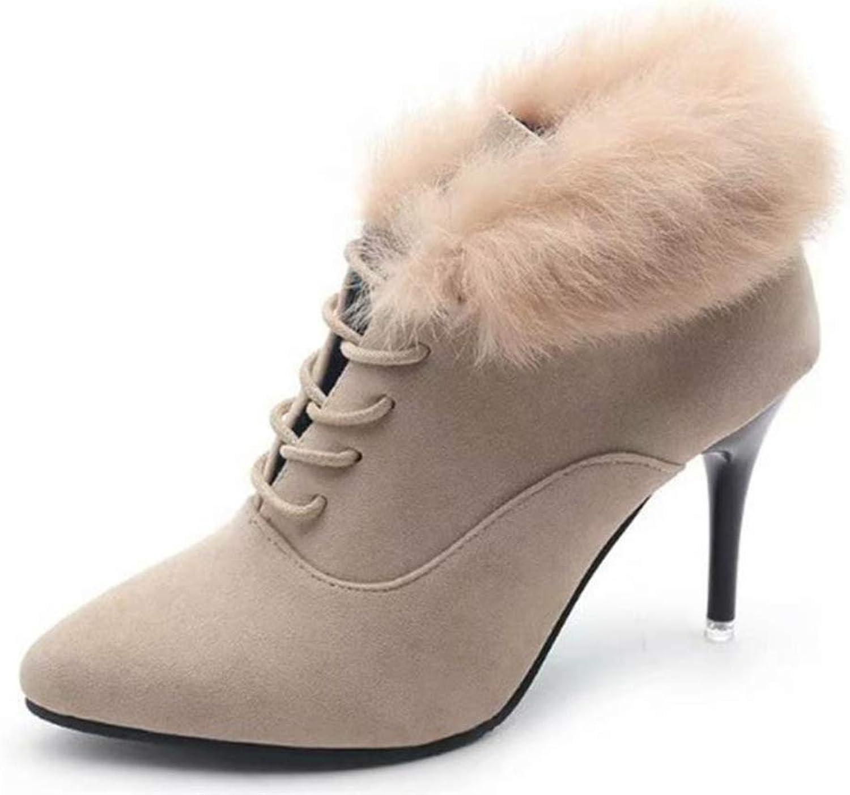 Cdon Women's shoes Boots Zipper High Heel shoes Lace-Up Stiletto Ankle Boots