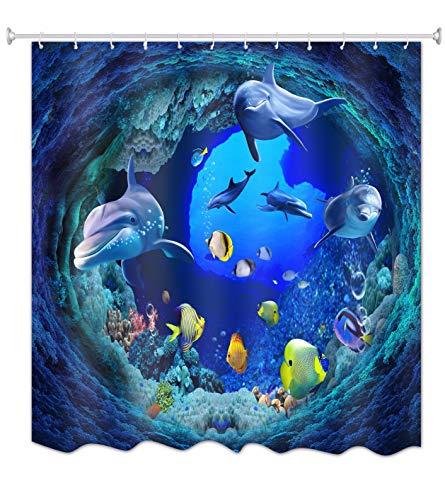 A.Monamour Cortinas de Ducha Azul Océano Profundo Natación Submarina Delfín Peces Amarillos Coral Vida Marina Temática 3D Tela Poliéster Cortina De Baño para Baño 180x200 cm