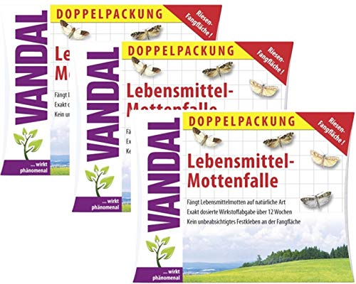 VANDAL 3 x Lebensmittel Motten-Falle Doppelpack wirkt phönomenal gegen Jede Art von Lebensmittel-Motten.