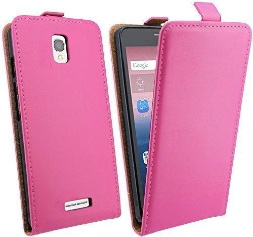 ENERGMiX Klapptasche Schutztasche kompatibel mit Alcatel One Touch POP Star (5070D) in Pink Tasche Hülle