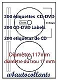 Etichetta adesiva per CD/DVD, compatibile con stampanti laser/a getto di inchiostro e macchine fotocopiatrici, 100 fogli A4, 200 etichette