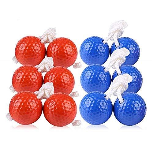 Kaptin 6Pack Leiter Toss Ball Ersatz Leiter Golf Bälle Bolos Bolas mit Echten Golf Bälle (Rot und Blau)