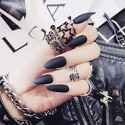 Olbye Stiletto Fake Nails Black Press on Nails Sharp Fake Nails Acrylic Nails Matte False Nails Full Cover Artificial Nails Tips for Women and Girls 24Pcs(Black)