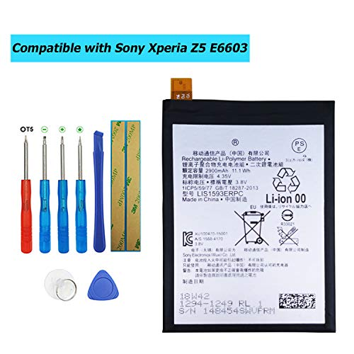 Upplus LIS1593ERPC - Batería de Repuesto Compatible con Sony Xperia Z5 E6603 E6653 con Kit de Herramientas