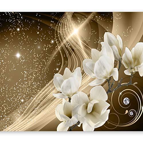 murando Fototapete Blumen Magnolien 350x256 cm Vlies Tapeten Wandtapete XXL Moderne Wanddeko Design Wand Dekoration Wohnzimmer Schlafzimmer Büro Flur Abstrakt Blitz Diamant Braun Gold b-A-0237-a-b