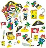 Baker Ross Pegatinas de Piratas Hechas de Espuma para Artesanía Perfectas para Decorar Tarjetas Álbumes Collages y Otras Manualidades de Niños (Pack de 96)