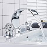 Rozin Arc Waterfall Spout Bathtub Filler Faucet 2 Crystal Knobs Vanity Basin Mixer Tap 8-inch and upwards...