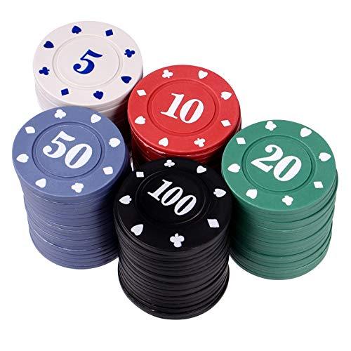 NUOBESTY Fichas de Póker para Juego de Póker 100 Piezas de Juego Monedas Juego de Mesa Fichas de...