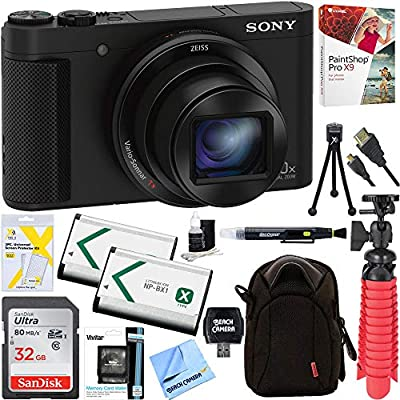 Sony Cyber-Shot HX80 Compact Digital Camera with 30x Optical Zoom (Black) + a SDHC 32GB UHS Class 10 Memory Card + Accessory Bundle by Sony