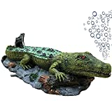 MJSHA Decoración de Acuario burbujeador de cocodrilo, paisajismo de pecera, decoración de Molde de cocodrilo de simulación de Resina (sin Bomba de Aire)