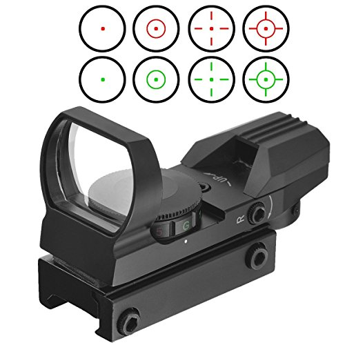 Red Dot Visier Sight Scope Leuchtpunktvisier Reflexvisier Reflex Sight Red Green mit Tactical 4 Reticles für 20mm/22mm Weaver oder Picatinny Railsysteme