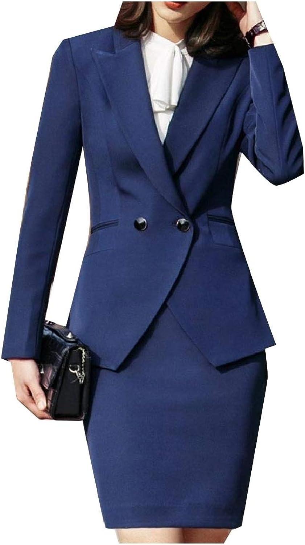 Vska Womens Lapel Button Solid Office Solid Skirt Jacket 2 Pc Suit