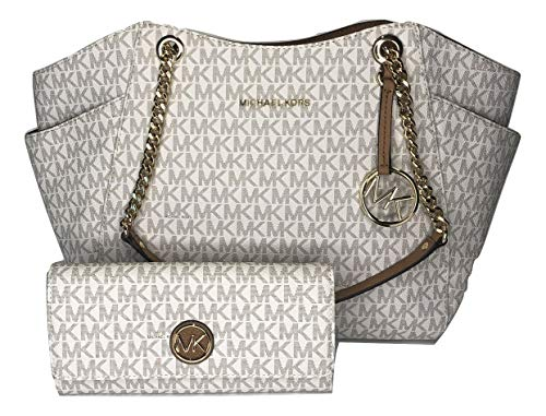Bundle of 2 items: MICHAEL Michael Kors Jet Set Travel Large Chain Shoulder Tote bundled with Michael Kors Fulton Flap Continental Wallet Double top handles with chain detail in gold, Three quarter zippered top closure with side gusset pockets Interi...
