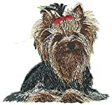 Yorkshire Terrier Puppy Dog Breed with Red Bow Yorkie Right Embroidered Applique Patch
